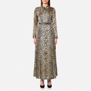 Ganni Women's Dufort Silk Dress - Leopard