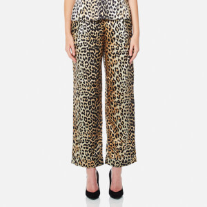 Ganni Women's Dufort Silk Trousers - Leopard