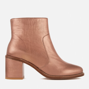 PS Paul Smith Women's Luna Leather Heeled Ankle Boots - Copper Metallic
