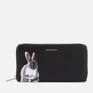 PS by Paul Smith Women's Large Zip Around Lucky Rabbit Purse - Black