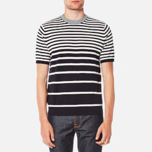 PS by Paul Smith Men's Short Sleeve Striped Pull Over Knitted T-Shirt - Navy/White