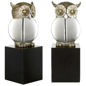Fifty Five South Owl Bookends - Antique Silver/Black (Set of 2)