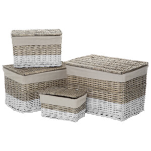 Fifty Five South Lida Willow Rectangular Storage Trunks - Natural (Set of 4)