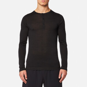 FALKE Ergonomic Sport System Men's Long Sleeved Henley Silk-Wool Top - Anthracite Mel