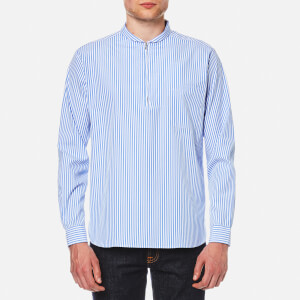 Our Legacy Men's Shawl Zip Long Sleeve Shirt - Blue Stripe