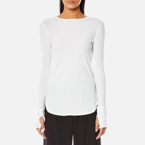 Helmut Lang Women's Corded Rib Long Sleeve Top - White