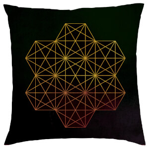 Geometric Star Print Cushion - Black