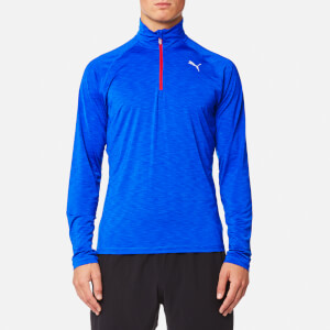 Puma Men's Core-Run Long Sleeve Half Zip Top - Lapis Blue Heather