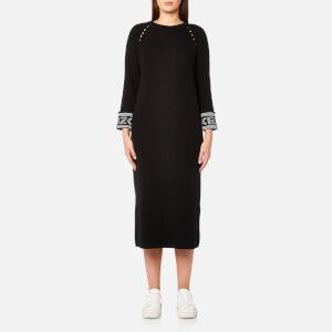 KENZO Women's Reversible Sleeve Knit Midi Jumper Dress - Black