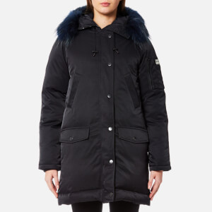 KENZO Women's Technical Outerwear Nylon Hooded Parka Coat - Black