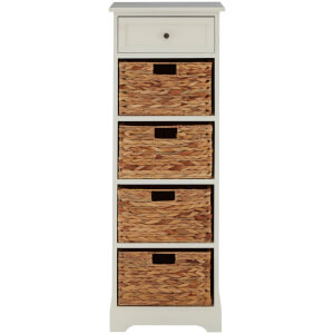Vermont Tall Cabinet with One Drawer and Water Hyacinth Baskets - Ivory