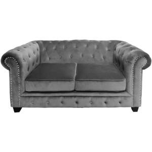 Regents Park Chesterfield Two Seater Sofa - Grey Cotton Velvet