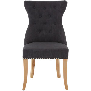 Regents Park Dining Chair with Studs - Grey Linen