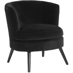 Plush Velvet Arm Chair - Black