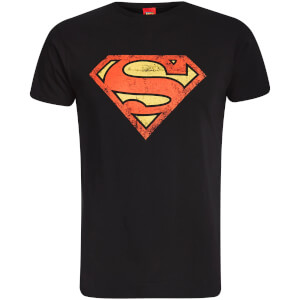 DC Comics Men's Superman Distressed Logo T-Shirt - Black