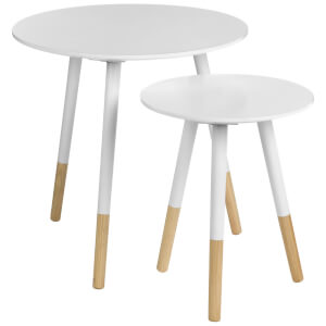 Fifty Five South Viborg Round Side Tables (Set of 2) - White