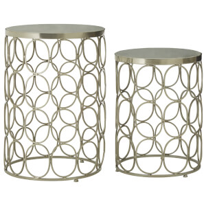 Fifty Five South Templar Side Tables (Set of 2) - Gold/Stone
