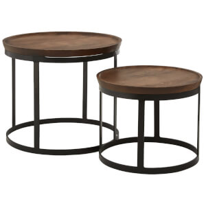 Fifty Five South Boho Nesting Table - Mango Wood/Metal (Set of 2)