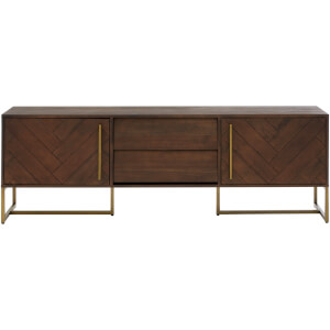 Fifty Five South Brando Media Unit - Acacia Veneer/Antique Brass