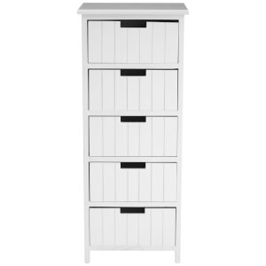 Fifty Five South New England Five Drawer Chest - White