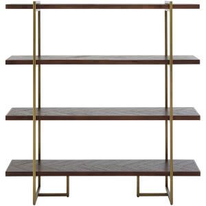 Fifty Five South Brando Bookcase - Acacia Veneer/Antique Brass