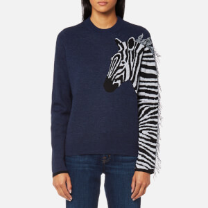 PS by Paul Smith Women's Zebra Knitted Jumper - Navy