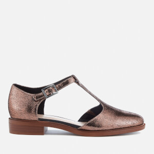 Clarks Women's Taylor Palm Leather T-Bar Flats - Copper Metallic