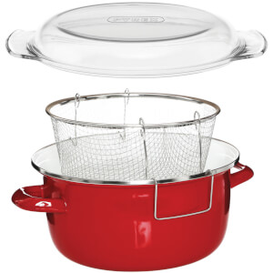 Enamel on Steel Deep Fryer - Red