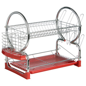 2 Tier Large Dish Drainer - Chrome/Red