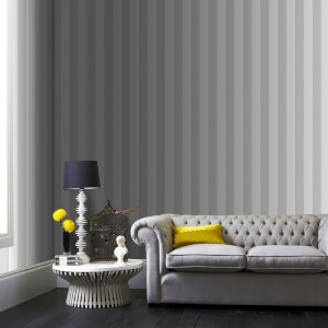 Superfresco Helen Glitter Stripe Wallpaper - Silver/White