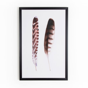 Art For The Home Feather Duo Brown Framed Print Wall Art