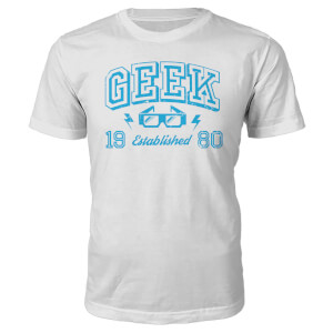 T-Shirt Geek Established 1980's -Blanc