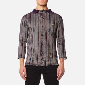 Vivienne Westwood MAN Men's Pilgrim Stripe Knitted Shirt - Purple Stripe