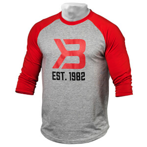 Better Bodies Mens baseball tee - Red/greymelange
