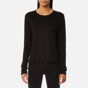 T by Alexander Wang Women's Classic Cropped Long Sleeve T-Shirt with Chest Pocket - Black