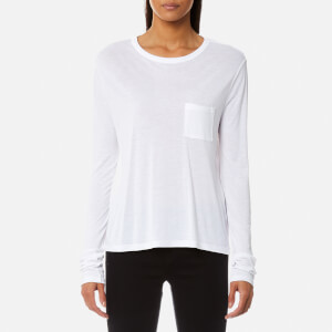 T by Alexander Wang Women's Classic Cropped Long Sleeve T-Shirt with Chest Pocket - White