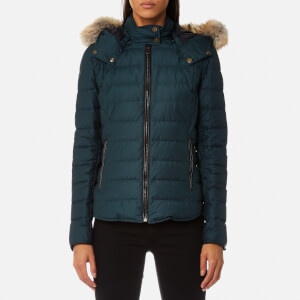 Belstaff Women's Avedon Short Quilted Jacket with Fur on Hood - Slate Teal