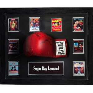 Sugar Ray Leonard Signed and Framed Boxing Glove with Domed Frame Finish