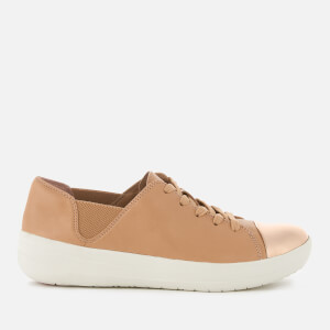 FitFlop Women's F-Sporty Mirror-Toe Leather Trainers - Nude