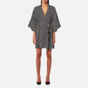 Diane von Furstenberg Women's Short Sleeve V-Neck Tie Front Blouse - Larson Black