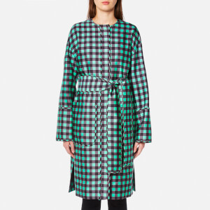 Diane von Furstenberg Women's Flare Belted Coat - Cossier Large Aqua