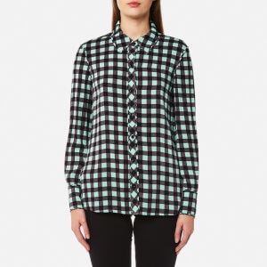 Diane von Furstenberg Women's Collared Shirt - Abel Check Ivory/Peony