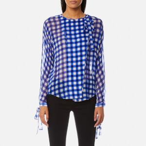 Diane von Furstenberg Women's Tie Neck Slit Blouse - Cossier Large Klein Blue