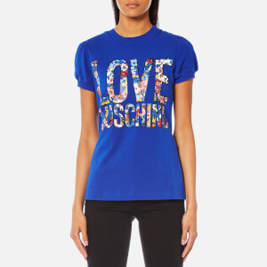 Love Moschino Women's Floral Logo T-Shirt - Blue