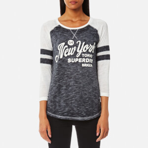 Superdry Women's Brooklyn Baseball Top - Optic White/90's Black
