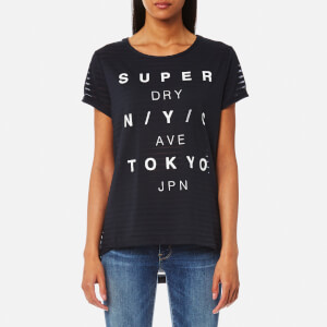 Superdry Women's NYC Burnout Stripe Boyfriend T-Shirt - Eclipse Navy