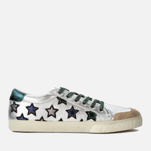 Ash Women's Majestic Leather Star Print Cupsole Trainers - Seta Silver