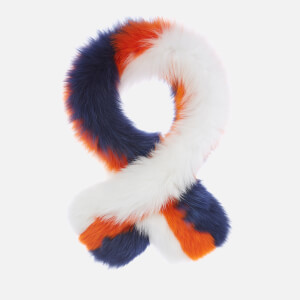 Charlotte Simone Women's Polly Pop Faux Fur Scarf - White/Orange/Blue
