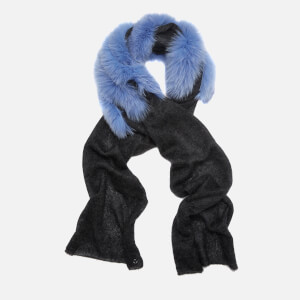 Charlotte Simone Women's Ziggy Mohair Scarf - Charcoal Black/Blue