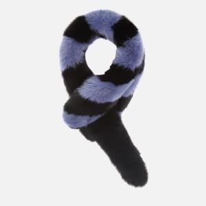 Charlotte Simone Women's Popsicle Faux Fur Scarf - Black/Blue